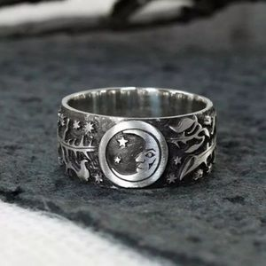 VINTAGE SUN & MOON STERLING SILVER RING
